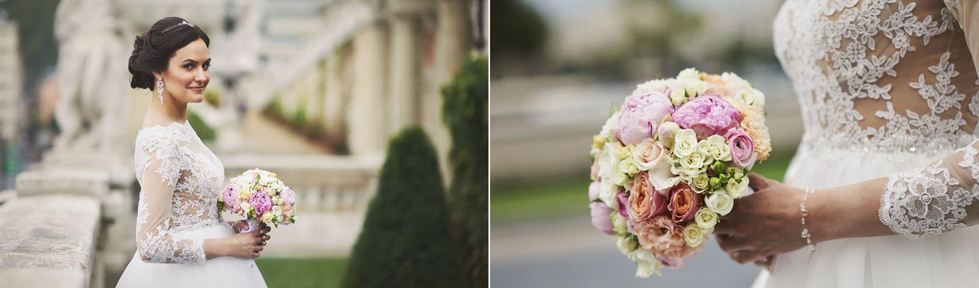 Menyasszony esküvői fotózás a Várkert Bazár kertjében